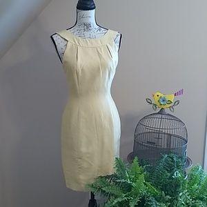 Tahari 4 pale yellow/gold silk dress #T00035D